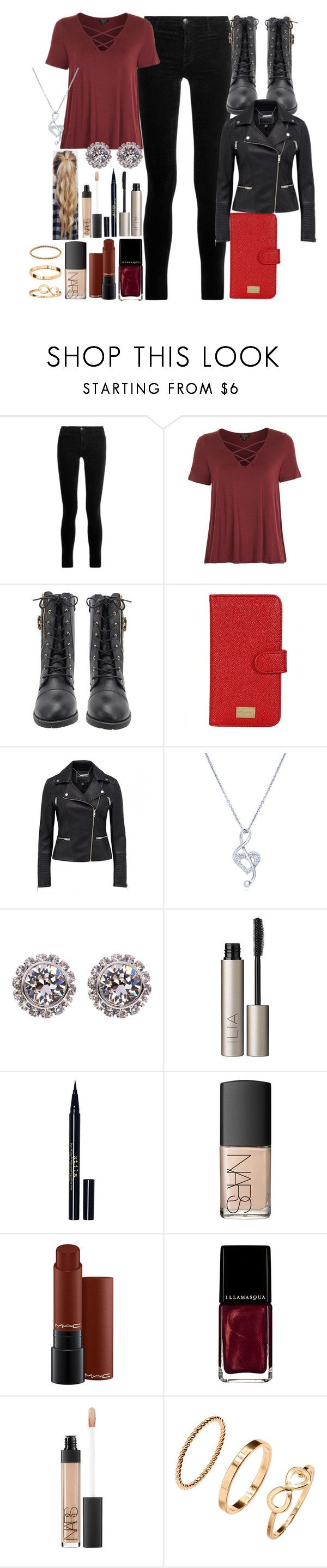 """No1 OC Hunter-Outfit 1"" by nattiexo ❤ liked on Polyvore featuring J Brand, Topshop, Dolce&Gabbana, BERRICLE, Ted Baker, Ilia, Stila, NARS Cosmetics, MAC Cosmetics and Illamasqua"