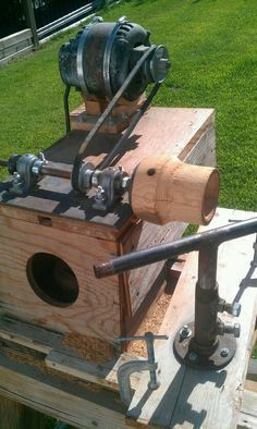 Crazy homemade wood lathe on Treasures On The Journey blog
