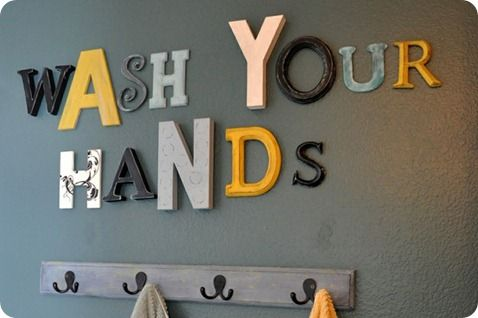 Love the gray and yellow colors for Connors new bathroom