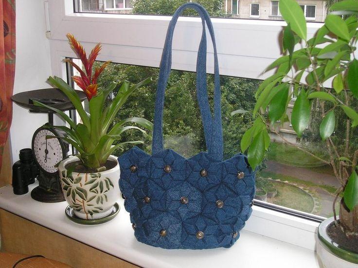 Bolsas de ombro - Ombro Denim Bolsa de Origami, Tecido Flores, azul - um produto único por Gofen em DaWanda