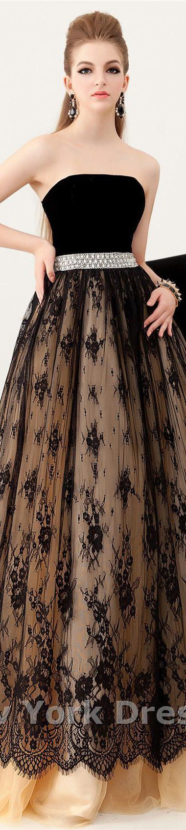 Angela and Alison design elegant dress black velvet bodice and pattern sheer overlay skirt. V