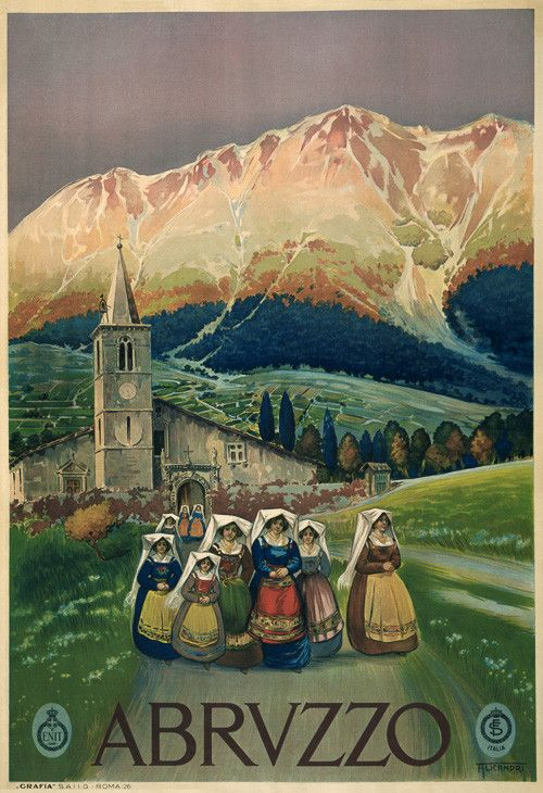 This is a vintage travel poster from Abruzzo, Italy showing showing women in colorful native costume leaving a church. Circa 1920.