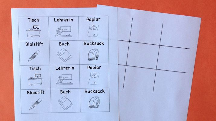 German classroom noughts and crosses game for beginning students