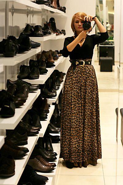 Tawny-leopard-print-handmade-skirt-black-etam-blouse-black-vintage-belt.... This is so cute!!! Would love to wear to work