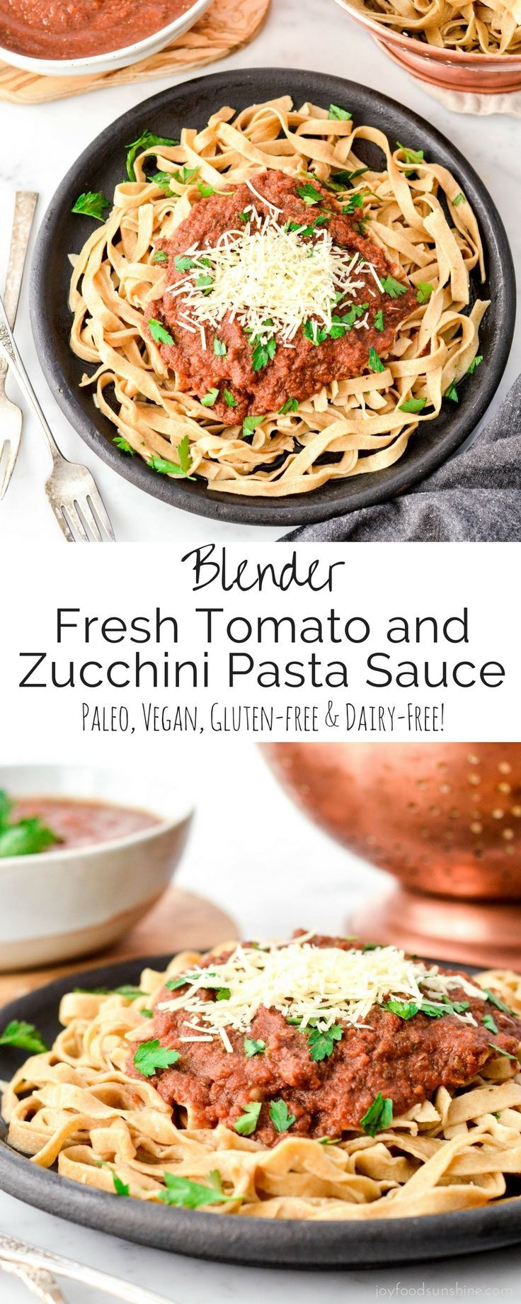Fresh Tomato & Zucchini Pasta Sauce made in the blender! A versatile marinara sauce that is loaded with sneaky veggies! Vegan, paleo, gluten-free and dairy-free!