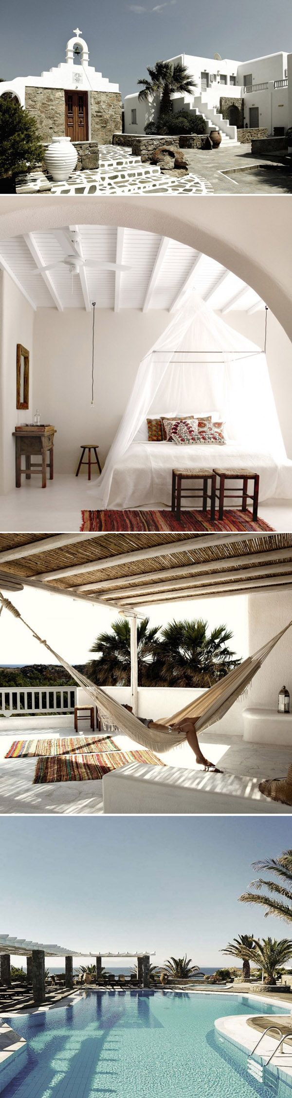 San Giorgio Hotel / Mykonos, Greece. Dream honeymoon. i so can visualise myself in whites, and shads.