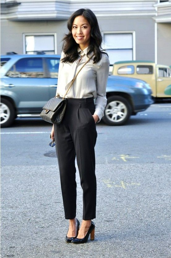 Cropped dress pants with heels images