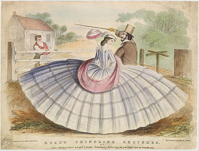 "Yet another cartoon poking fun at the size of crinolined skirts...   Inscription: In stone: ""Lady - Oh my goodness! How shall I get past. Gentleman - Holloa there my good fellow! Open the turnpike gate."":"