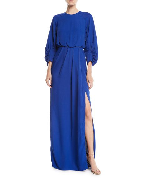 0e001eba52d Lela Rose Full-Sleeve Front-Slit Crepe Column Evening Gown