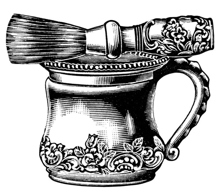 Victorian Men's Shaving Mug and Brush Free Printable Clip Art (style 1 of 3 in the blog post)