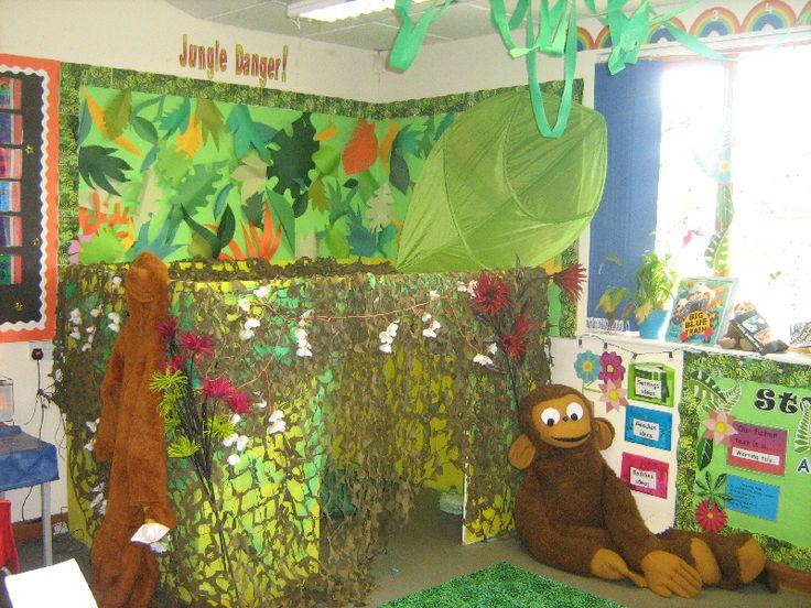 Jungle classroom reading corner jungle theme classroom for Backyard party decoration crossword