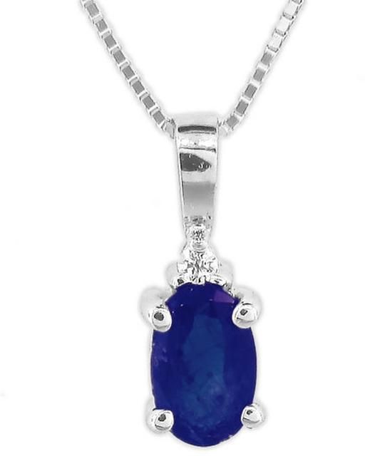 Vivid elegance 25 ct tw blue sapphire 14k white gold pendant vivid elegance 25 ct tw blue sapphire 14k white gold pendant necklace with diamond aloadofball Image collections