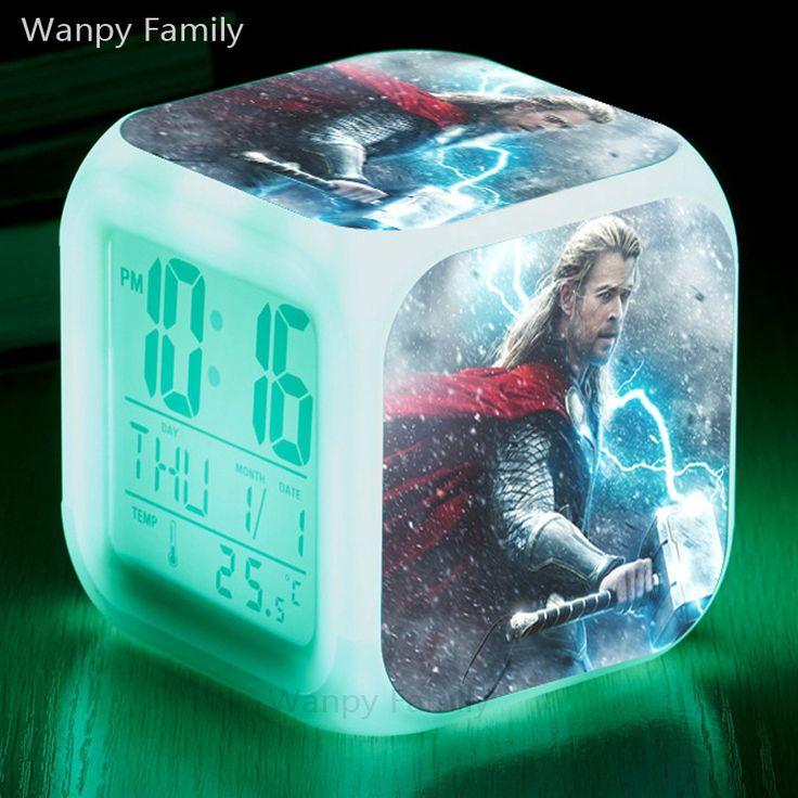 The Mighty Thor (Donar) Alarm Clocks,Glowing LED Color Change Digital alarm clock For Kids Birthday Gift toys alarm clock