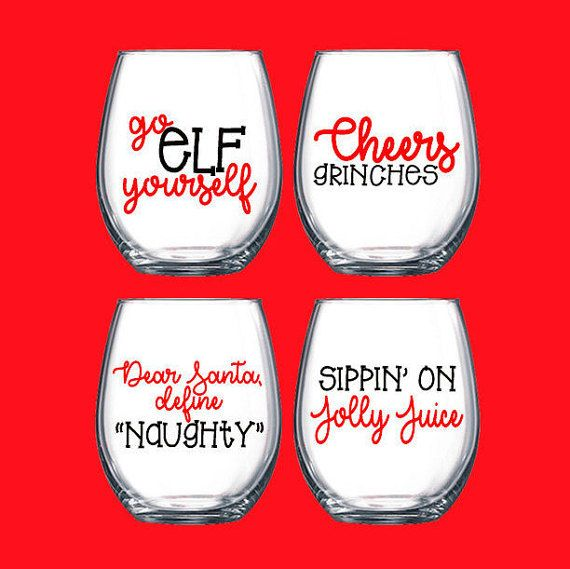 Funny Christmas Wine Glasses- Christmas Wine Glasses- Christmas Glasses- Funny Christmas Gifts- Christmas Gifts- Stemless Wine Glasses-Wine