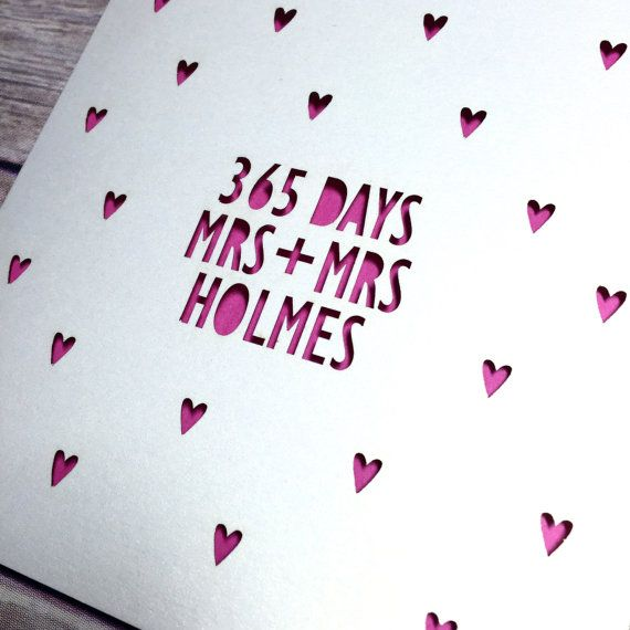 Same Sex 1st Anniversary Card, 365 days, Lasercut Card, Personalised Anniversary Card, Mr & Mr Card, 1st Anniversary Gift, Gay Anniversary