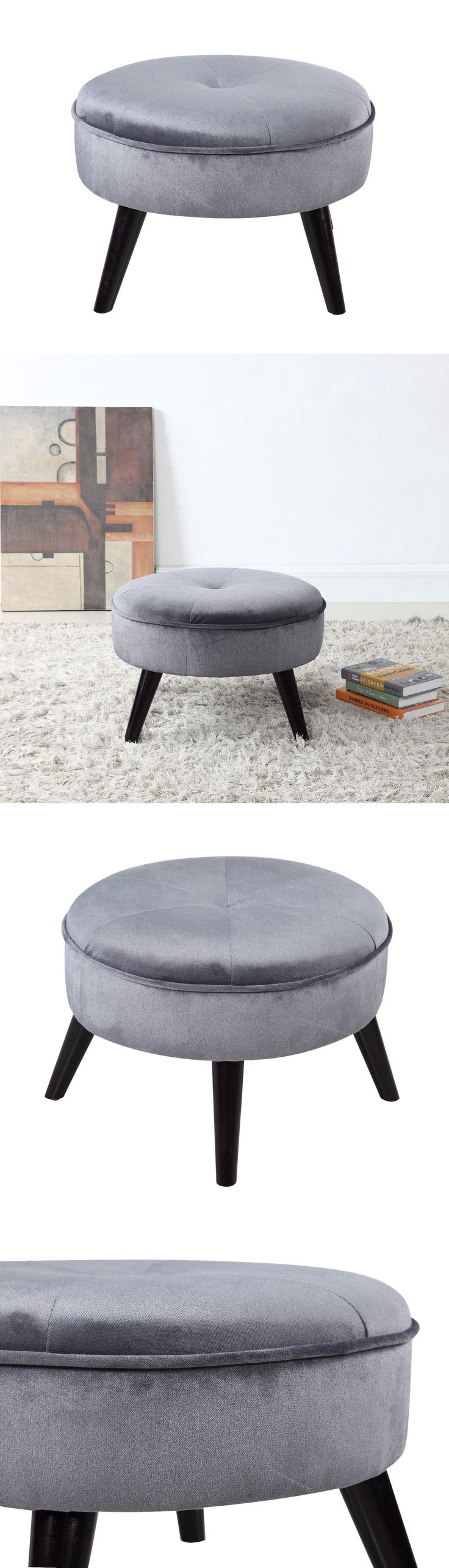 Ottomans Footstools and Poufs 20490: Grey Classic Tufted Large Round Velvet Footrest Footstool Ottoman -> BUY IT NOW ONLY: $49.99 on eBay!