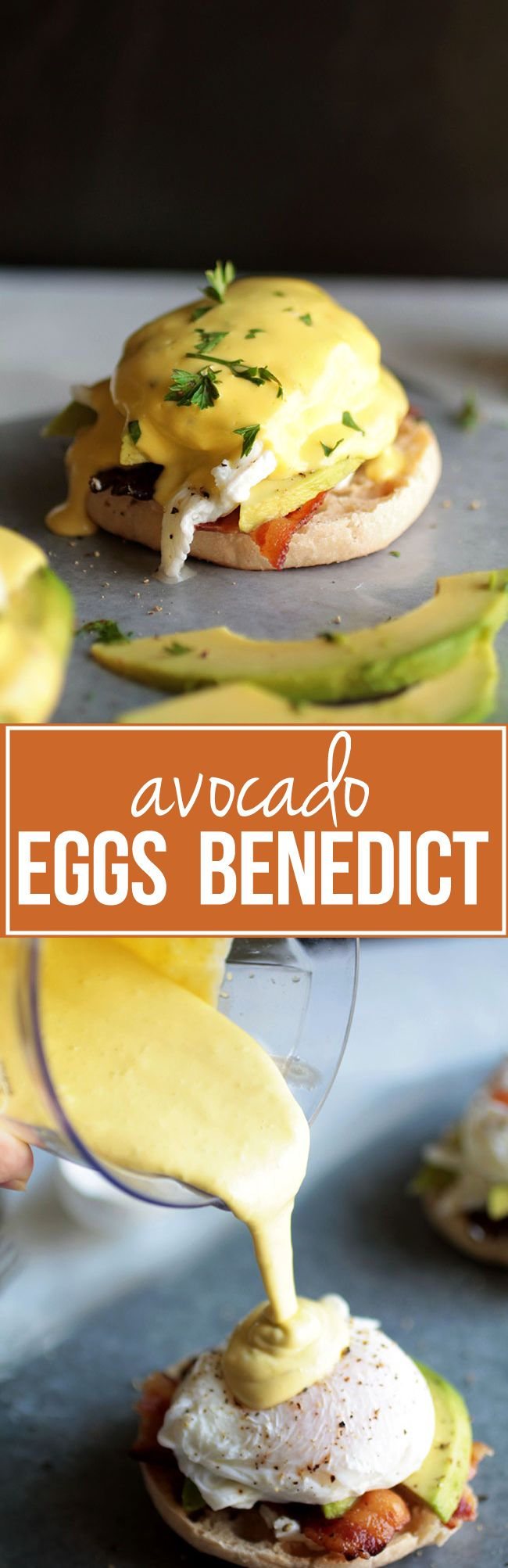 Avocado Eggs Benedict | Mix up your brunch routine with this easy, creamy, delicious avocado eggs benedict! Easy homemade hollandaise sauce using an immersion blender.