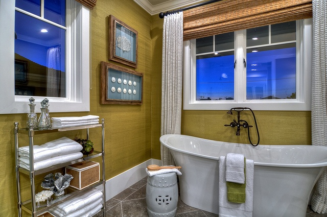 green, natural wood, pedestal bathtub, large shower, shower bench, natural window shades, finished carpentry, white cabinets, natural wood floors, recessed lighting, paned windows, Details A Design Firm, Spinnaker Development