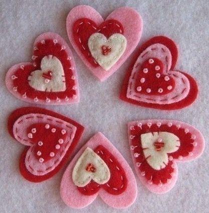 Валентинки из фетра