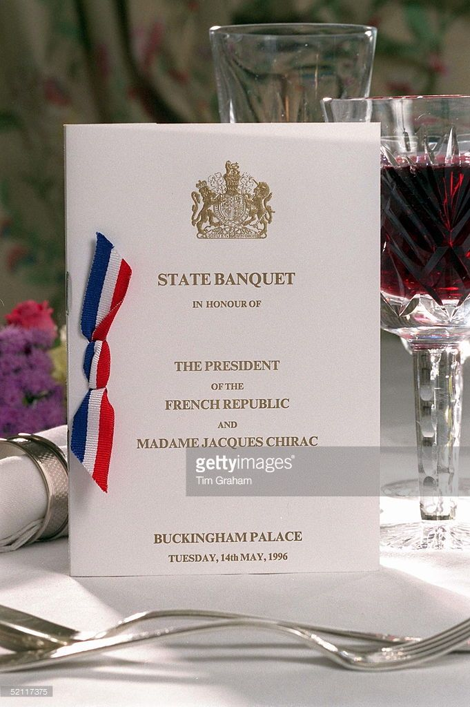 The Menu For The State Banquet At Buckingham Palace For President Jacques & Madame Chirac