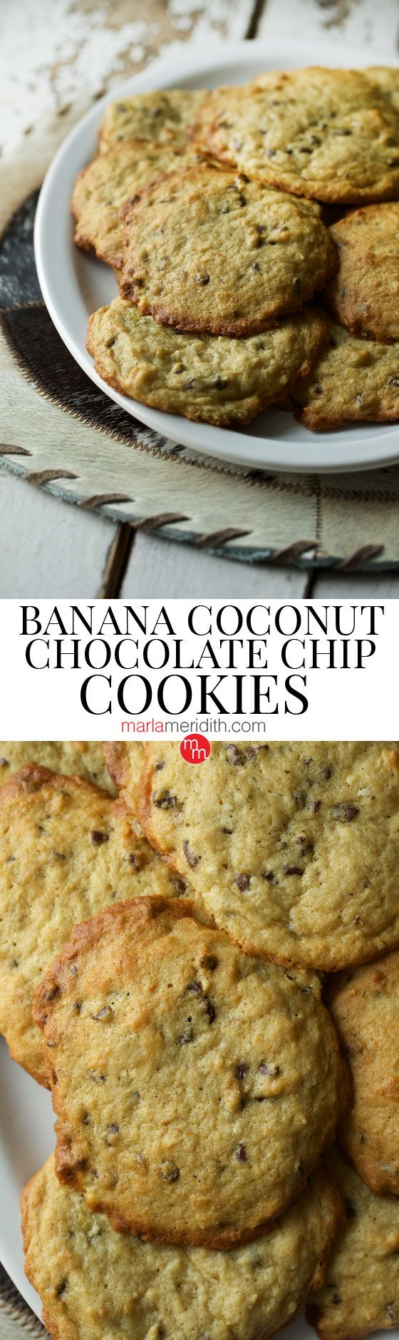 Banana Coconut & Chocolate Chip Cookies, find this #recipe & many more on MarlaMeridith.com ( @marlameridith )