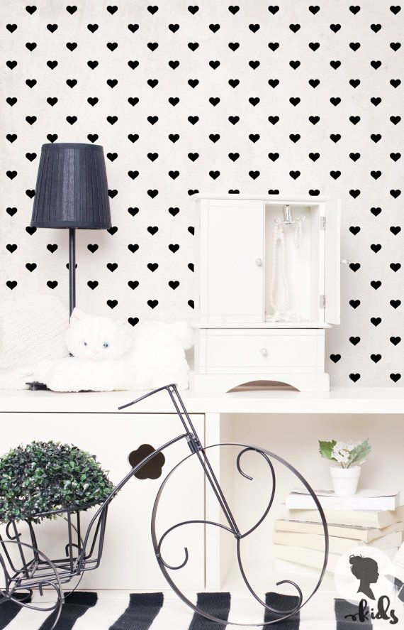 Cute Hearts Pattern Self Adhesive Wallpaper L015 by LivettesKIDS