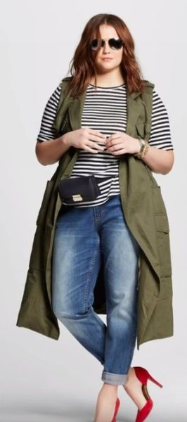 пальто-жилет для полных цвета хаки