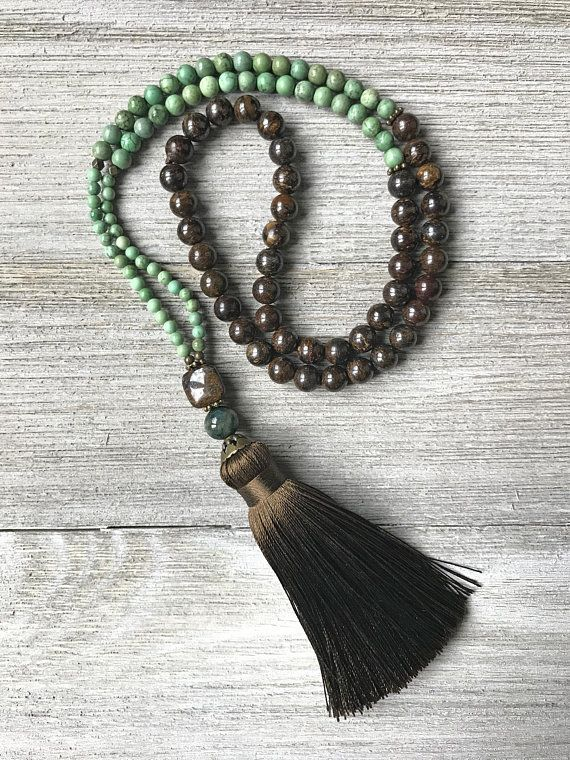 Lava Stone African Turquoise Mala Necklace Beaded Tassel 108 Bead Mala Prayer Beads Gemstone Necklace