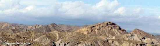 Deserts of the world: Tabernas Desert landforms - famous landmark Almeria, Spain