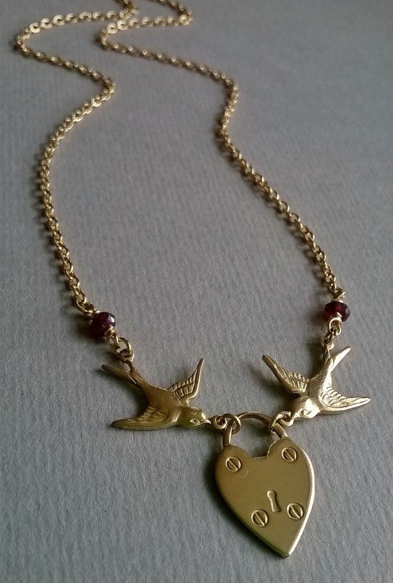 The Swallows and the Heart Padlock with Garnet by TheMysticalPug, £9.00