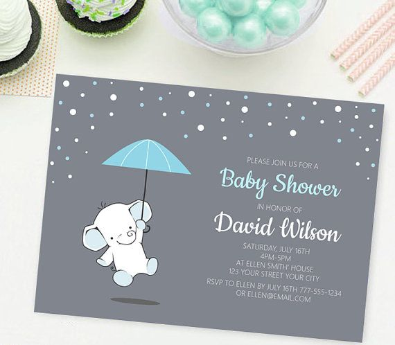 Blue elephant Baby Shower InvitationBalloon by TheCutePaperStudio Baby Shower Invitations For Boys link: https://www.etsy.com/listing/269851195