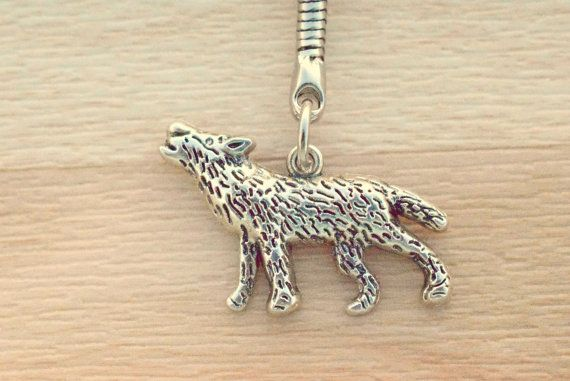 Wolf Keychain - Silver Howling Wolf Key Chain - Wolf Bag Charm - Backpack Keychain - Wolf Lover Gift