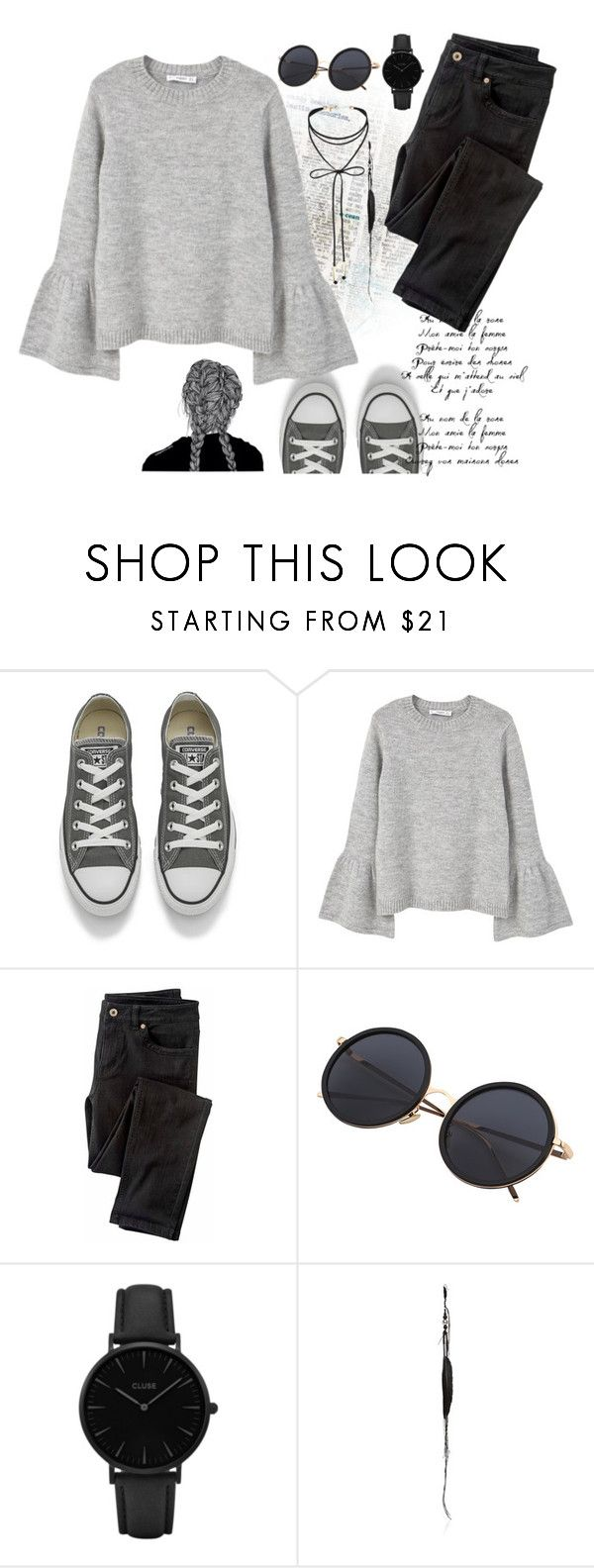"""""""outfit#41"""" by fantafarawla ❤ liked on Polyvore featuring Converse, MANGO, Wrap, CLUSE, Ann Demeulemeester and Miss Selfridge"""