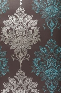 I need this wallpaper. (Vasuki  baroque grey brown gold mint turquoise wallpaper 70s)