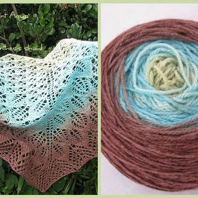 A photosynthesis shawl out of my 5 Ply Silk/Merino yarn in a Mint Turquoise Choc gradient