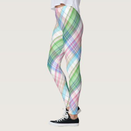 Colorful Pink Turquoise Green Plaid Tartan Pattern Leggings - retro gifts style cyo diy special idea