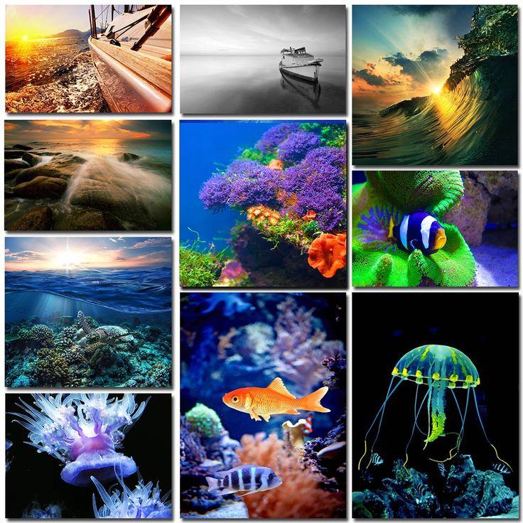 Motiv från hav, sjöar, floder eller marint liv. Fotografierna kommer att ge dina väggar ett fräscht utseende och en lugnande effekt.