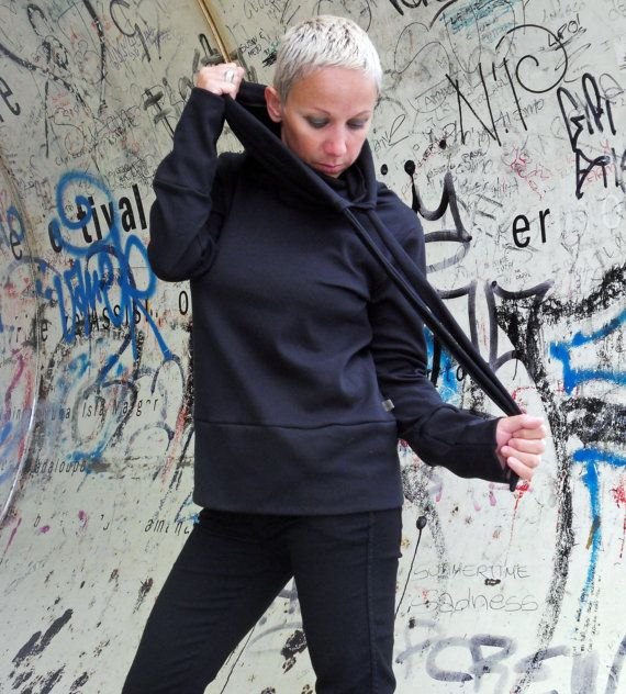 Sweatshirt for women/high collar/cotton fleece/ top sweater on Etsy, $60.38 CAD
