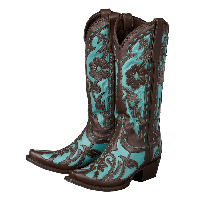 Poison in Turquoise & Brown - Lane Boots