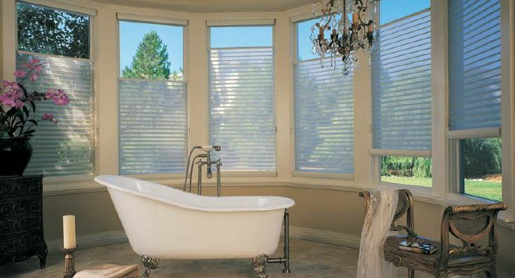 Beautiful bathroom with HunterDouglas Silhouette shades