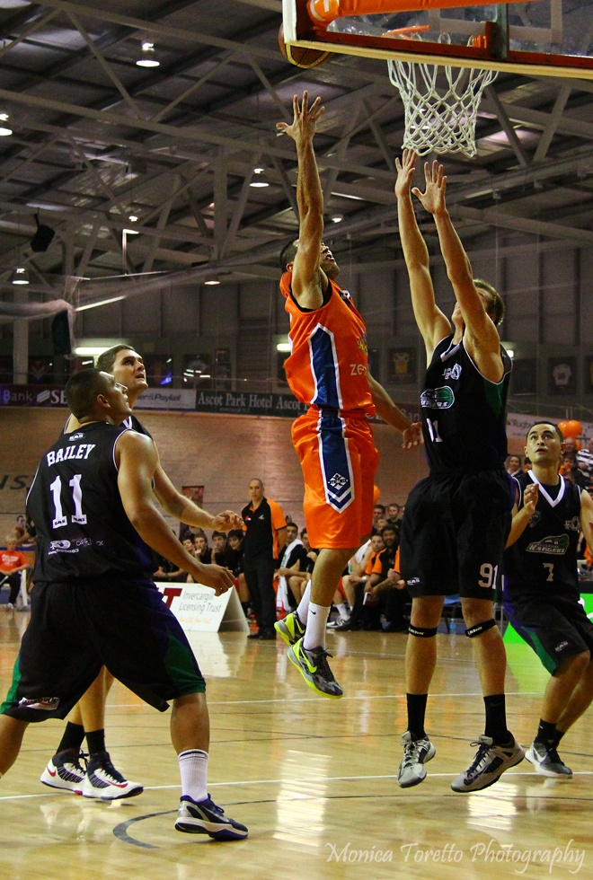 Opening game of the 2013 season for the Southland Sharks. Velodrome, Invercargill, April 19, 2013. Southland Sharks 93 - 74 Super City Rangers.
