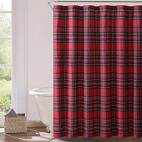 VCNY Plaid Shower Curtain In Red