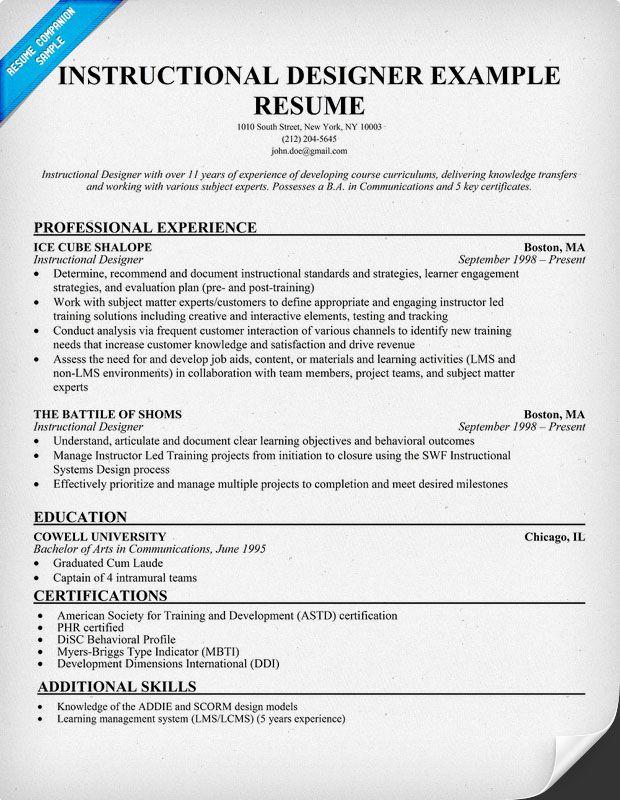 new instructional designer resume examples