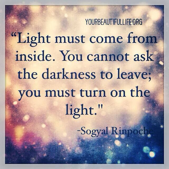 Motivational quote and graphic about the light within you.