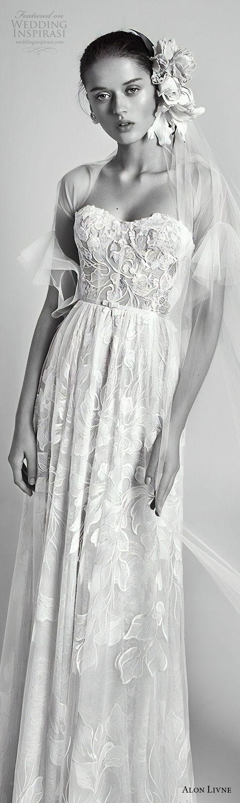 alon livne 2018 bridal strapless semi sweetheart neckline full embellishment romantic column soft a line wedding dress (4) lv -- Alon Livné White 2018 Wedding Dresses