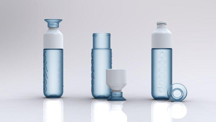 Bottle frosted, blue, ceramic, white