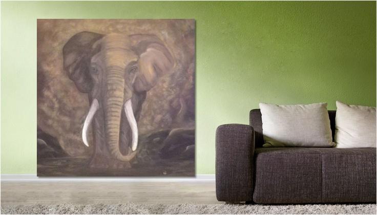 tableau peinture dessin l phant 02 2013 pt format une toile de val impression sur dibond. Black Bedroom Furniture Sets. Home Design Ideas
