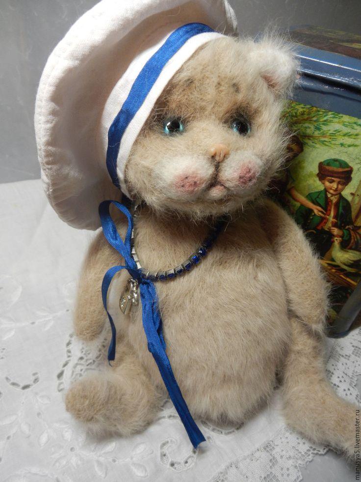 "Купить Котик ""Бася"" - бежевый, кот, котёнок, ангорский котёнок, котёнок игрушка, котёнок-тедди"