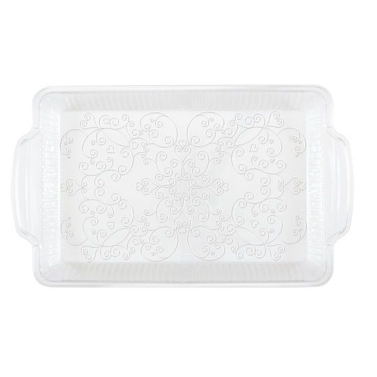 Etched Clear Plastic Serving Tray