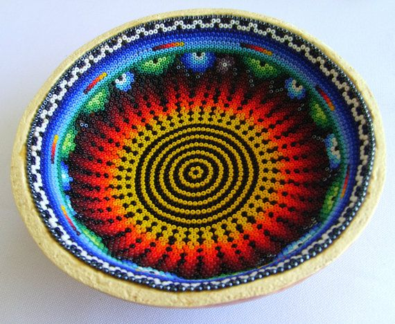 Mexican Huichol Beaded Sacred Gourd Bowl by Aramara on Etsy, $20.00